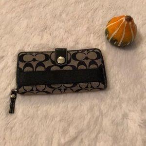 Black Authentic Coach Long Wallet